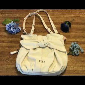 ELLE white shoulder bag, pink trim, statement bow.